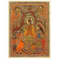 Madhubani painting, 'Krishna with His Cattle' - Madhubani painting