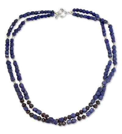 Lapis lazuli and garnet strand necklace