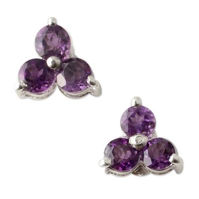 Amethyst Stud Earrings Artisan Crafted Jewelry