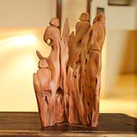 Reclaimed wood sculpture, 'Mountain Celebration' - Abstract Wood Sculpture