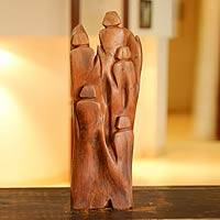 Reclaimed wood sculpture, 'One with Nature' - Hand Carved Wood Sculpture