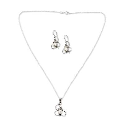 Hand Crafted Floral Pearl Jewelry Set in Sterling Silver