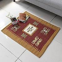 Wool rug, 'Sunset Earth' (2x3) - Hand Crafted Traditional Wool Area Rug (2x3)