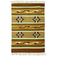 Cotton rug, 'Sunset Earth' (2x3) - Cotton rug (2x3)