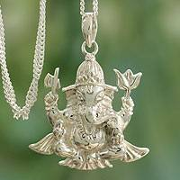 Sterling silver pendant necklace, 'Pious Ganesha' - Hindu jewellery Elephant Deity in Sterling Silver