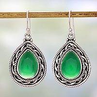 Sterling silver dangle earrings, 'Green Palace Memories' - Handcrafted Sterling Silver and Green Onyx Dangle Earrings