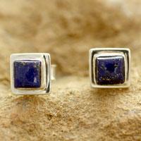 Lapis lazuli stud earrings, 'Hindu Galaxy' - Lapis Lazuli Earrings Handmade Sterling Silver Jewelry India
