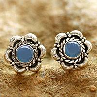 Blue chalcedony flower earrings, 'Bihar Bloom' - Sterling Silver and Chalcedony Earrings Floral Jewelry