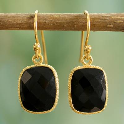 Gold vermeil onyx dangle earrings, 'Mughal Nights' - Handmade Gold Vermeil and Black Onyx Dangle Earrings India