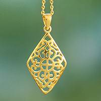 Gold vermeil pendant necklace, 'Dazzling Jaipur' - Gold vermeil pendant necklace