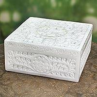 Marble box, 'Jungle Life' - Natural Marble Decorative Box Indian Jali