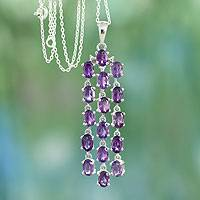 Amethyst pendant necklace, 'River of Violet' - Sterling Silver Necklace with Amethyst Pendant from India