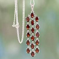 Garnet pendant necklace, 'River of Scarlet' - Sterling Silver and Garnet Necklace