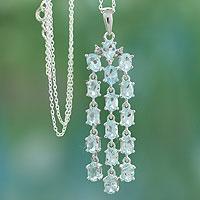 Blue topaz pendant necklace, 'River of Azure' - Sterling Silver Necklace with Blue Topaz Pendant from India