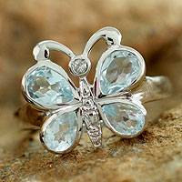 Blue topaz cocktail ring, 'Butterfly'