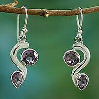 Amethyst dangle earrings, 'Jungle Enchantment' - Amethyst dangle earrings