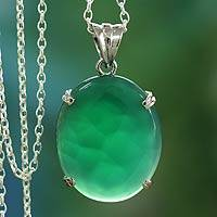 Sterling silver pendant necklace, 'India Green' - Artisan Crafted Indian Sterling Silver Green Onyx Necklace