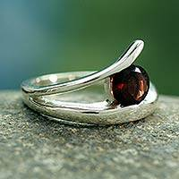 Garnet solitaire ring, 'Circle of Love' - Handcrafted Modern Sterling Silver Solitaire Garnet Ring