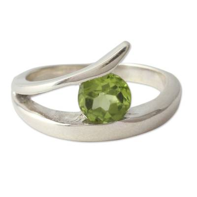 Artisan Crafted Solitaire Peridot Ring from India