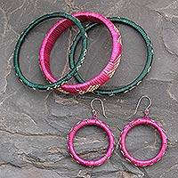 India grass jewelry set, 'Festive India' - Unique India Grass Earrings and Bracelets Jewelry Set