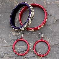 India grass jewelry set, 'India Color' - Handcrafted Natural fibre jewellery Set from India