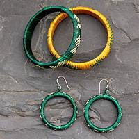 India grass jewelry set, 'India Meadows' - Grass Jewelry Set Earrings and Bracelets from India