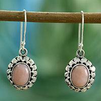 Pink opal flower earrings, 'Peace' - Pink opal flower earrings
