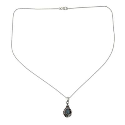 Sterling Silver Necklace with Labradorite Pendant from India