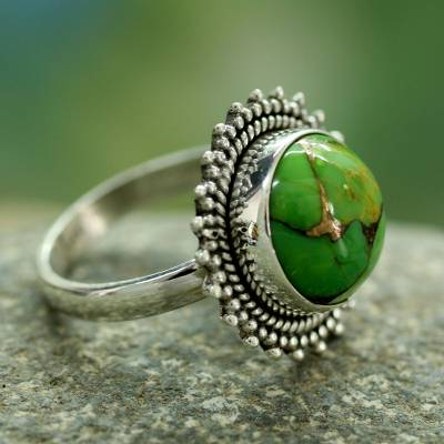 Sterling silver cocktail ring, 'Verdant Promise' - Sterling Silver and Green Composite Turquoise Cocktail Ring