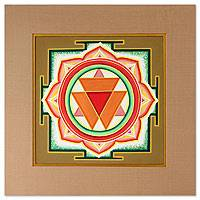 Yantra painting, 'Durga' - Indian Yantra Painting