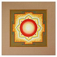Yantra painting, 'Hanuman' - Indian Yantra Painting