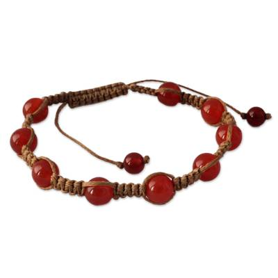 Carnelian Shambhala-style bracelet, 'Blissful Energy' - Cotton and Carnelian Artisan Crafted Shambhala Bracelet