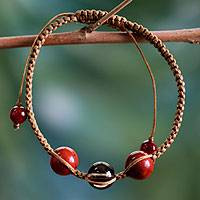 Jasper and smoky quartz Shambhala-style bracelet, 'Courageous Tranquility' - Smoky Quartz and Jasper Cotton Shambhala-style Bracelet
