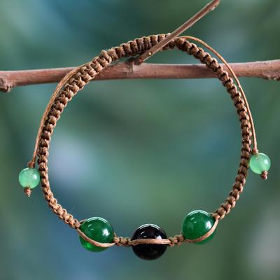 Onyx Shambhala-style bracelet, 'Protective Tranquility' - Green and Black Onyx Hand-braided Shambhala-style Bracelet