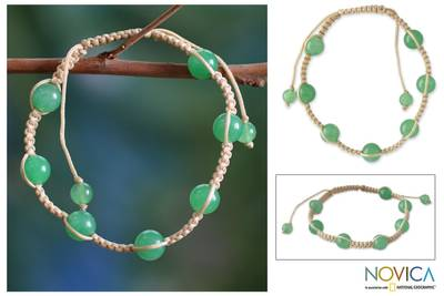 Jade Shambhala-style bracelet, 'Peace' - Good Luck Cotton Shambhala-style Jade Bracelet