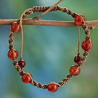 Carnelian Shambhala-style bracelet, 'Peace' - Carnelian Beaded Cotton Shambhala-style Bracelet