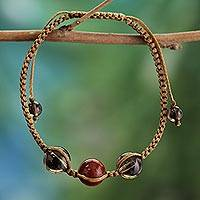 Smoky quartz and jasper Shambhala-style bracelet,
