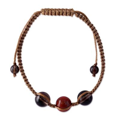 Handcrafted Jasper and Smoky Quartz Shamballa Bracelet