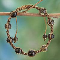 Smoky quartz Shambhala-style bracelet, 'Blissful Endurance' - Indian Shambhala-style Smoky Quartz Bracelet