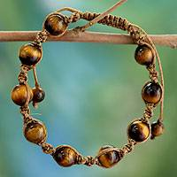Tiger's eye Shambhala-style bracelet, 'Blissful Insight' - Artisan Crafted Cotton Shambhala-style Tigers Eye Bracelet
