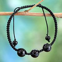 Onyx Shambhala-style bracelet, 'Tranquil Protection II' - Protection Jewelry Cotton Beaded Onyx Bracelet