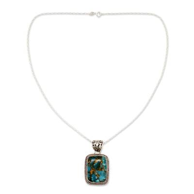 Sterling Silver and Recon Turquoise Necklace from India