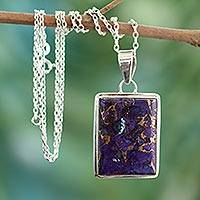 Sterling silver pendant necklace, 'Purple Mystique' - Composite Turquoise Sterling Silver Necklace Modern Jewelry