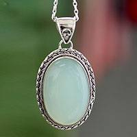 Chalcedony pendant necklace, 'Delhi Daydream' - Hand Made Chalcedony Pendant Necklace