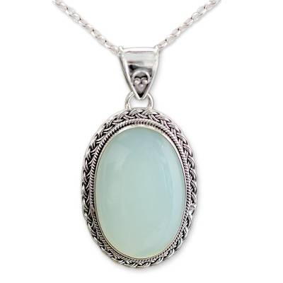 Hand Made Chalcedony Pendant Necklace