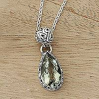 Prasiolite pendant necklace, 'Verdant Mist' - Hand Made Jewelry Prasiolite and Sterling Silver Necklace