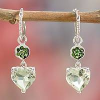 Prasiolite dangle earrings, 'Light of Love' - Prasiolite dangle earrings