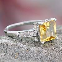Diamond accent citrine solitaire ring, 'Sunshine Sparkle' - Solitaire Citrine and Diamonds Ring in Silver Jewelry