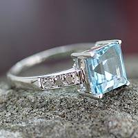 Diamond accent blue topaz solitaire ring, 'Sky Sparkle' - Square Cut Blue Topaz Ring Silver and Diamonds India