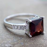 Diamond accent garnet solitaire ring, 'Scarlet Sparkle' - Sterling Silver jewellery Solitaire Garnet and Diamonds Ring